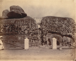 View of the rock sculptures known as Arjuna's Penance, Mamallapuram